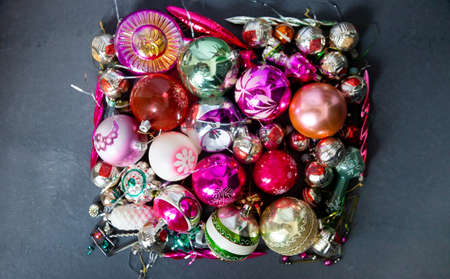 Christmas balls for a christmas background. Old retro ball for decorating the Christmas tree. Glass New Year decorations. Winter holidays.