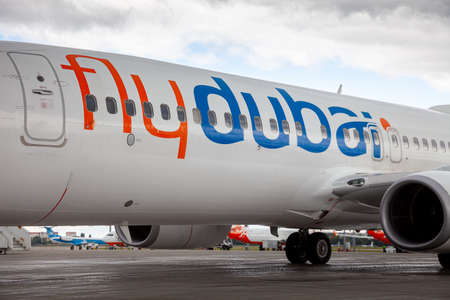 Ukraine, Kyiv - July 8, 2020: Passenger aircraft Boeing 737-800 next-generation Flydubai Airlines A6-FEP. Boryspil International Airport. Arrival of the aircraft on the platform. Apron runway.