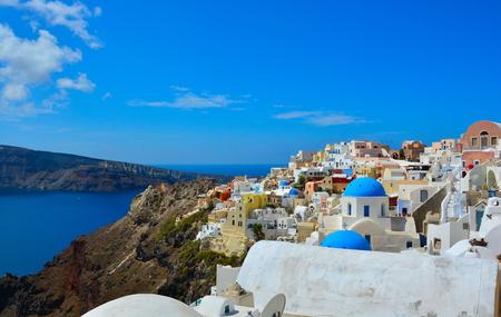 The traditional architecture of Santorini, sea view  photo