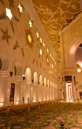 electrolier: Interior of the Mosque Interior of the Sheikh Zayed Mosque in Abu Dhabi  Carpets, patterns on the walls, soft light