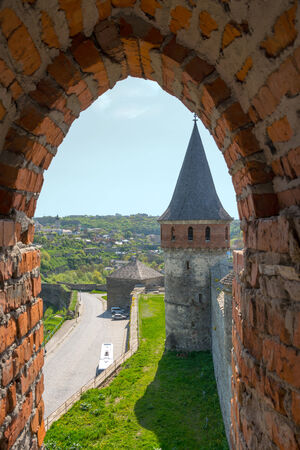 loopholes: View of the Old Castle of its loopholes, at Kamyanets-Podilsky, Ukraine