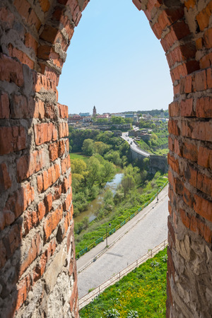 loopholes: View of the Old Town of its loopholes, at Kamyanets-Podilsky, Ukraine Stock Photo