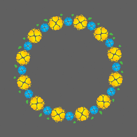 Wreath of yellow and blue flowers like hearts, vector illustration Vector