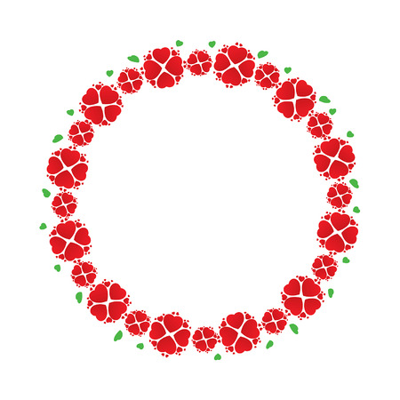 Wreath of red flowers like hearts, vector illustration Vector