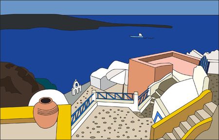 santorini greece: The traditional architecture of Santorini, Oia  White and blue houses and yards Santorini, vector  Illustration