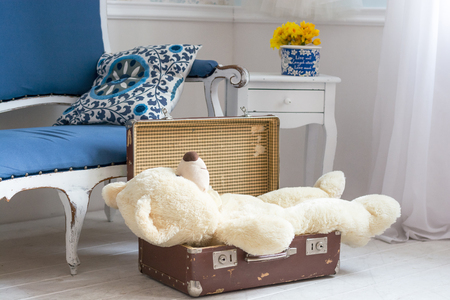 forgot: Toy bear is in a suitcase in vintage interior