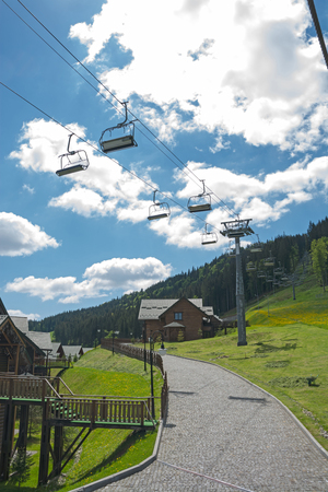 ski lift: Cableway in the mountains. Ski Lift