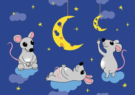 myszy: Myszy siedzi na chmurach podziwiać księżyc w postaci sera. Wektor bez szwu ilustracja, EPS 8