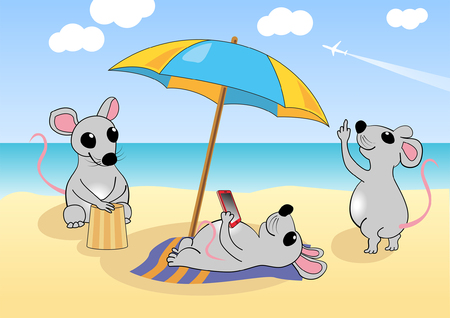 mouse: Mice is resting on the beach near the sea. Vector illustration, eps 10 Illustration