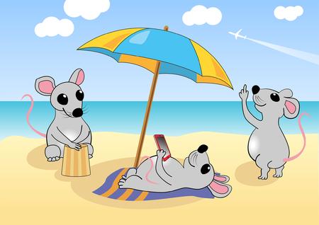 myszy: Myszy odpoczywa na plaży w pobliżu morza. Ilustracji wektorowych, EPS 10