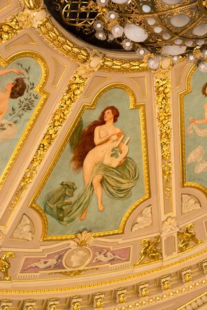 muse: Fragment of ceiling paintings at the Opera House, the muse. Lviv Opera House, Lviv, Ukraine. 29.11.2015. Editorial.