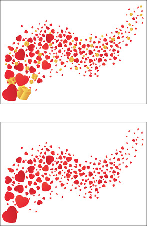 Flying hearts and gifts. Vector illustration