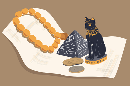 antiquities: Egyptian cat, a pyramid and papyrus - souvenirs from travels. Illustration