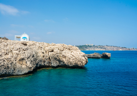 Church Agioi Anargyroi at Cape Greco, view from the sea. Cyprus.
