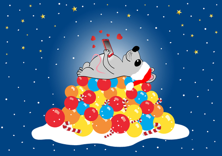 The mouse lies on a hillside with a mobile phone in its paws. Christmas composition, vector illustration Иллюстрация
