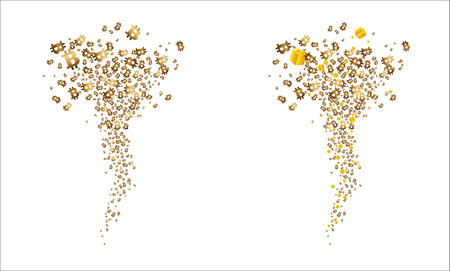 Tornado of golden flying bitcoins and gifts. Vector illustration