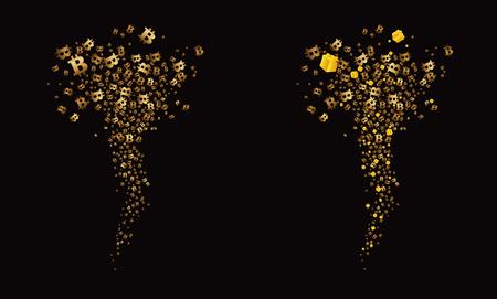 Tornado of golden flying. Vector illustration