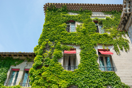 An ancient ivy-tilled house in the medieval city of Carcassonne in France