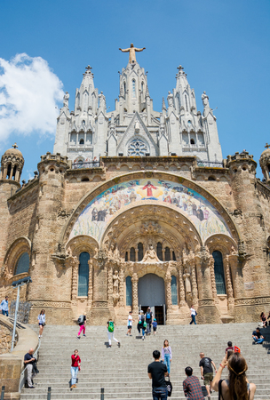 Editorial. May 2018. The facade of the Temple of the Sacred Heart on Mount Tibidabo in Barcelona, Spain