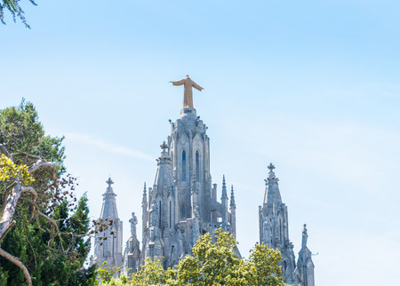 The Temple of the Sacred Heart on Mount Tibidabo in Barcelona, Spain, back view