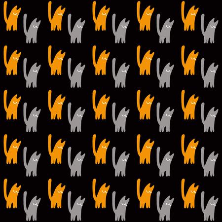 Gatos naranjas y grises, ilustración vectorial sobre fondo negro