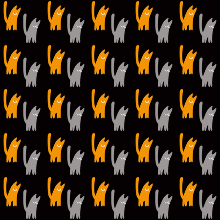Orange and gray cats, vector illustration on black background