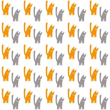 Gatos naranjas y grises, ilustración vectorial sobre fondo blanco.