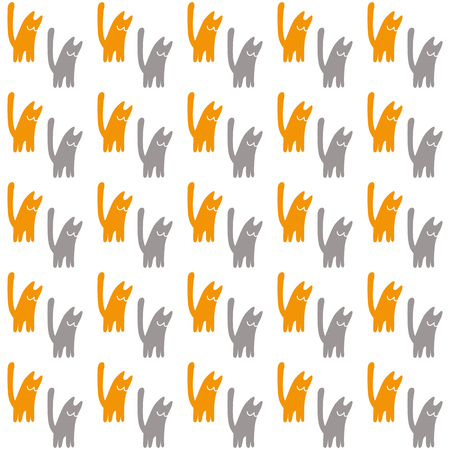 Orange and gray cats, vector illustration on a white background.