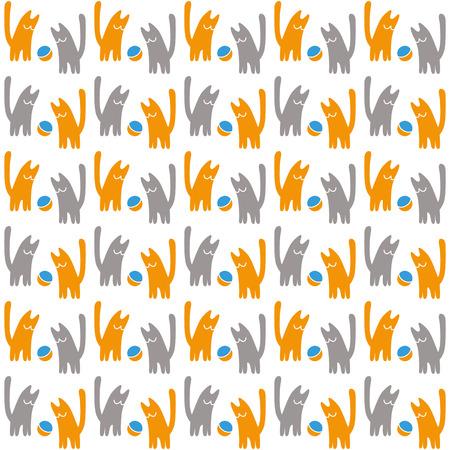 Gatos naranjas y grises con una bola, patrón transparente de vector, ilustración de vector de concepto sobre un fondo blanco. Ilustración de vector