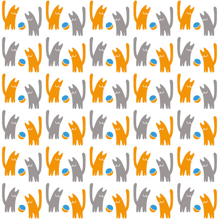 Orange and gray cats with a ball, vector seamless pattern, concept vector illustration on a white background. Ilustração Vetorial