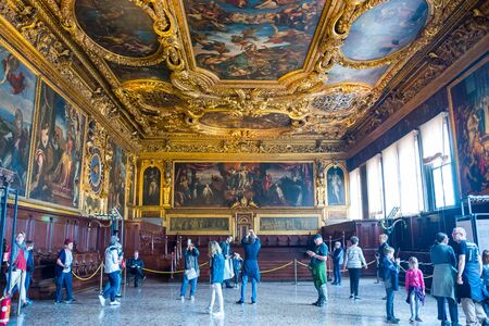 Editorial. May, 2019. Venice, Italy. Interior of the Senate Hall of the Doge's Palace in Venice
