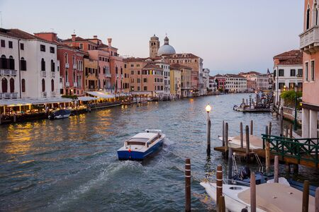 A view of a Grand Canal near the Venice Santa Lucia Railway Station from top of Scalzi Bridge in the Venice, Italy.