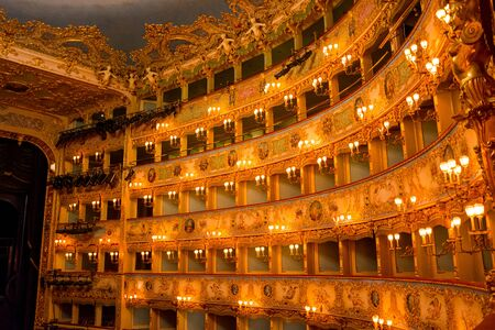 Editorial. May, 2019. Venice, Italy. Fragment of the decoration of the part of the theater in La Fenice. Interior of La Fenice Theatre.