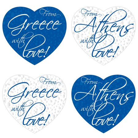 A set of hearts for souvenirs on the theme Greece, Athens in the colors of the national flag. Vector illustration Stok Fotoğraf - 133162312