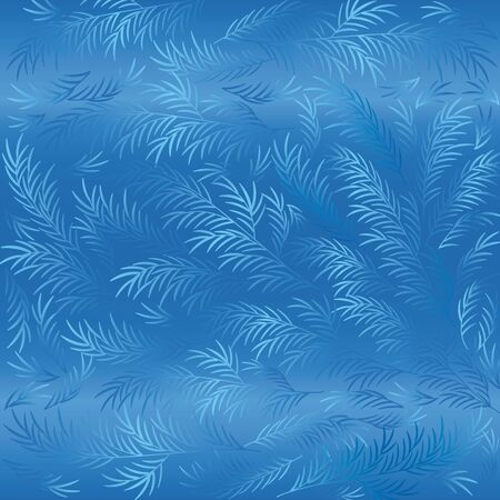 Vector Texture of frosty patterns. Winter frosty blue patterns on the glass. Illustration.
