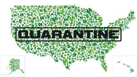 Quarantine area. Map of USA with quarantine sign. USA map made of dollars with a quarantine sign. The American economic crisis.Vector illustration.