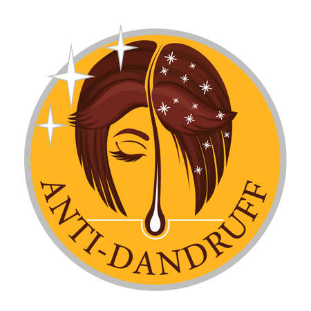 Anti-dandruff flakes free icon. Vector flat logo of a healthy hair follicle, female head with and without dandruff. Disease of the skin. Label for shampoo and medical or cosmetic hair care products.