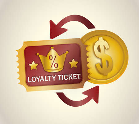 Loyalty program ticket icon. Discount or bonus card with image of percent signs and crown. Promotion concept and saving money while shopping in real and online stores. Vector Ilustración de vector