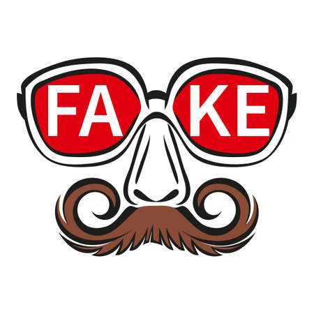 Fake mask with glasses and mustache icon. Person hiding true face. Ð¡oncept incognito, spreading false info and propaganda in media, deception, spreading lies. Modern flat vector sign for news website.