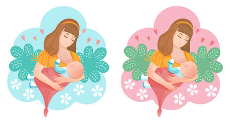 Woman breastfeeding newborn baby icon set. Mom holds her little son or daughter in arms and feeds with breast. Child sucks milk. Concept lactation, motherhood, childbirth. Colorful cartoon flat vector