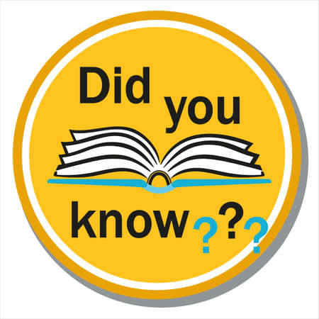 Did you know icon. Interesting fact symbol label. Book with text question round sign. Concept announcement news, important info, giving advice. Flat vector illustration on white background