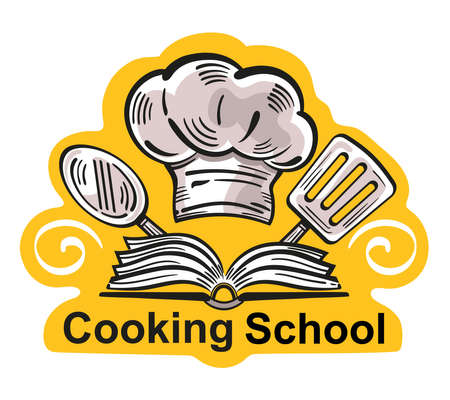 Cooking school design logo. Food studio or culinary master class icon. Concept cook workshop or education courses. Kitchen tools, chef hat with recipe book. Hand drawn vector illustration on white.