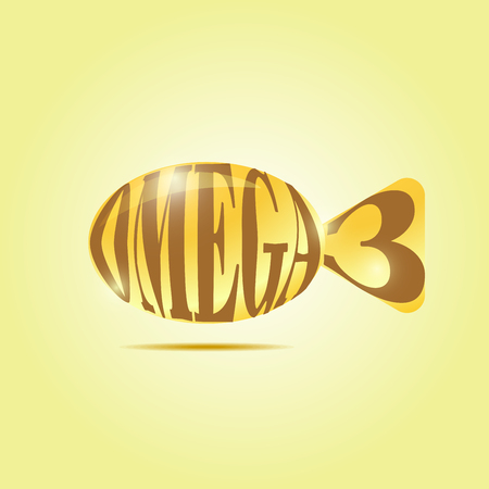acids: Omega fatty acids. Shiny shiny pill (capsule) of oil in the form of fish symbolic.