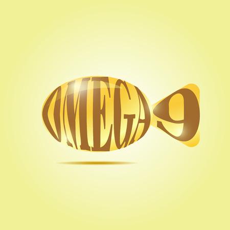 canola: Omega fatty acids. Shiny shiny pill (capsule) of oil in the form of fish symbolic.
