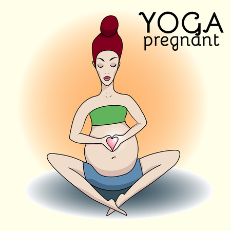 pregnancy yoga: Pregnant woman sitting in lotus position, yoga class, put her hands on her stomach in the form of a heart. Yoga for Pregnancy