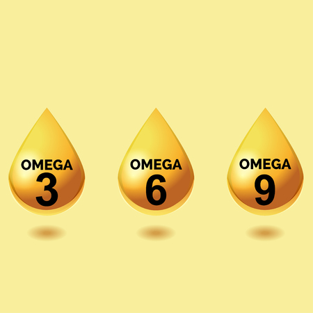 Omega fatty acids. Shiny drops of oil. Three drops of polyunsaturated fatty acids omega 3 omega 6 omega 9 on a light yellow background, how to perform simple symbols