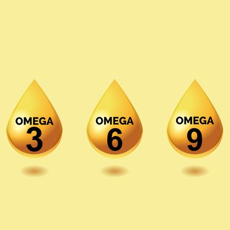 Omega vetzuren. Glanzende druppels olie. Drie druppels van meervoudig onverzadigde vetzuren omega 3, omega-6 omega 9 op een lichte gele achtergrond, hoe eenvoudige symbolen uit te voeren Stock Illustratie