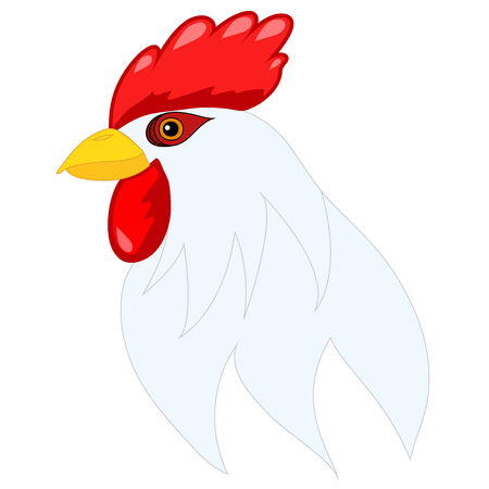 Head of cartoon rooster isolated on white. Illustration