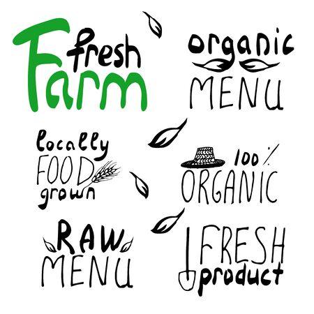 frash: Organic,bio,vegan frash eco natural shape set. Organic food labels set. Fresh healthy food icons. lables for restaurant menu or food package design ,grunge Badges, Hand drawing painting