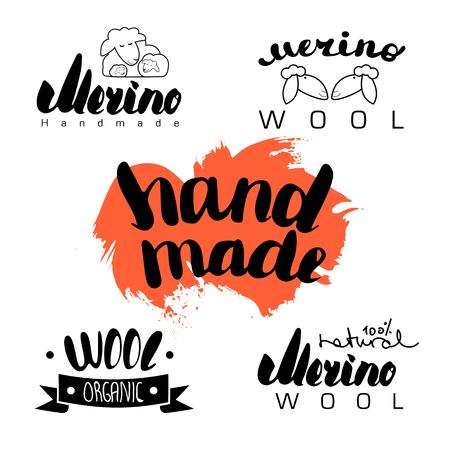 mohair: Black contour farm cartoon animal with a lettering inscription, Logo sheep vector animal, outline for product, sheep Wool labels, stickers and logos. knitting label set. hand knit logo.